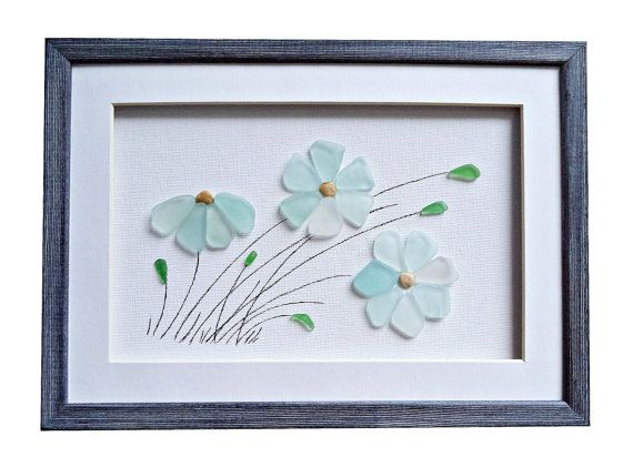 Genuine sea glass flowers, Sea glass art, Pebble art new home housewarming gift, Unique framed wall art, Coastal beach house decor, 3D art