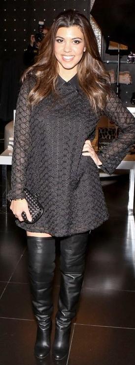 Kourtney Kardashian: Dress – Stylestalker    Shoes – Hermes    Purse – Bottega Veneta