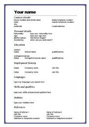 english worksheet cv template in word - Words Resume Template