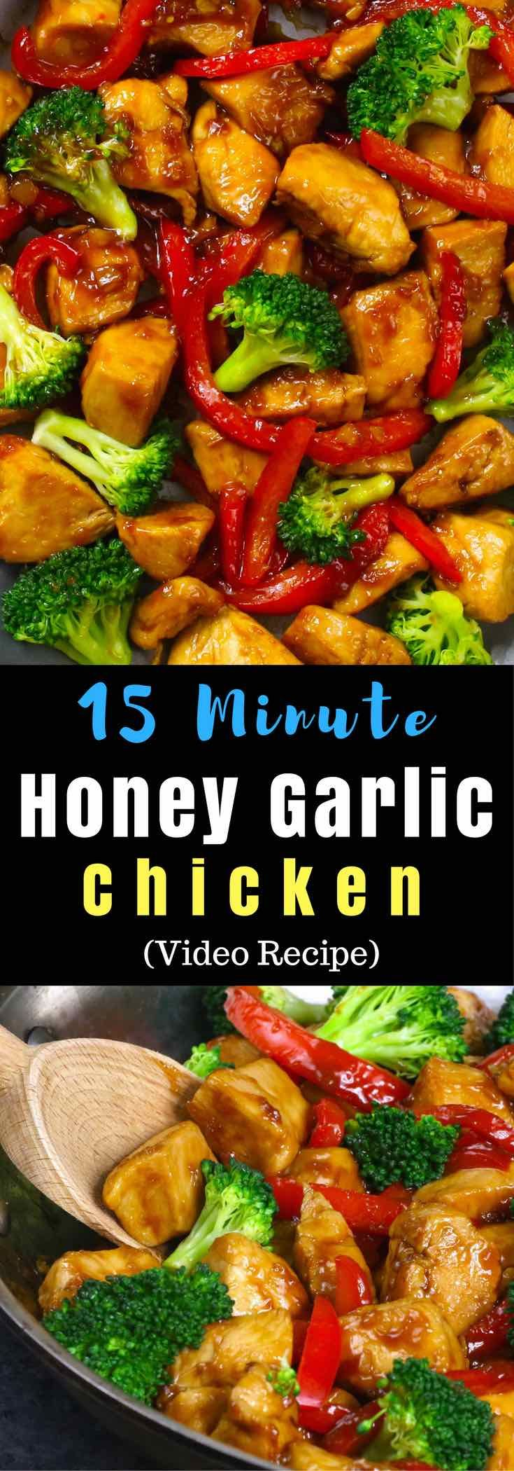 The easiest, most unbelievably delicious Honey Garlic Chicken recipe. And it'll be on your dinner table in just 15 minutes. Succulent chicken cooked in honey, garlic and soy sauce mix, seared in frying pan with vegetables. Ready in 15 minutes! Quick and easy dinner recipe. Video recipe.