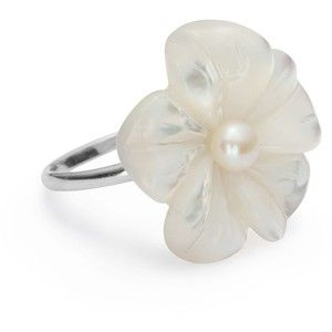 Statement Mother Of Pearl Flower Sterling Silver Ring - Simp ...