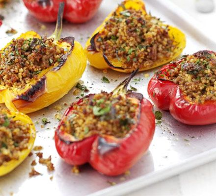 Pork & bulghar-stuffed peppers recipe - Recipes - BBC Good Food - 185 per serve