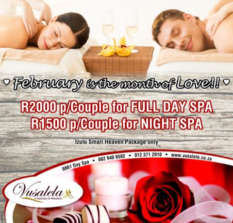 Let us spoil you and your friend/loved one this Valentines month!  012 371 2910 - 082 940 9592