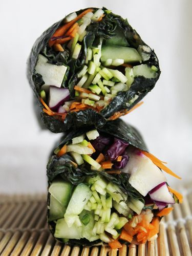 Raw Nori Wraps with Red Cabbage, Cucumber, Carrots, Zucchini Spicy Dipping Sauce