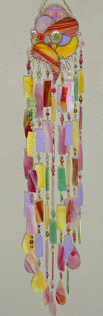 Kirk's fused glass art garden windchime.  Many more on his website.     Titled: Fruit Salad