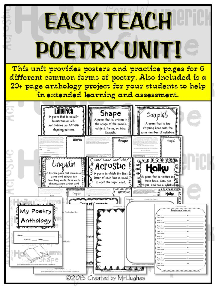 Finally, an EASY TEACH unit that will have your kiddos writing 6 common forms of poetry in no time.    This unit has everything you need to get started teaching!  Included is:  -6 pages of teacher directions/suggestions for use (includes a list of recommended books and websites that I use when I teach this unit to my students. Also includes suggestions for grading.)  -6 posters of the studied forms  -6 student practice pages (1 per form)  -20+ page student anthology project booklet ($)