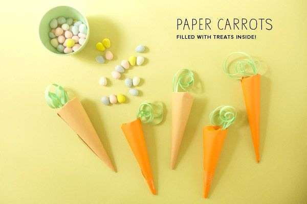 Paper carrots filled with chocolate eggs or jelly beans!