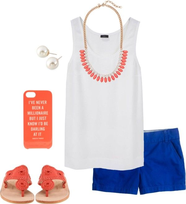 Jack Rogers sandals, white tank and royal blue shorts with pearl studs.