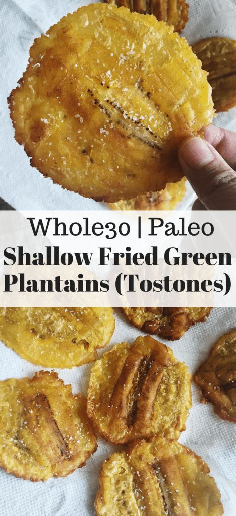 Here's a healthier version of tostones. This shallow fried tostones (green plantains) recipe is easy to make, Whole30 approved and a great source of carbs.