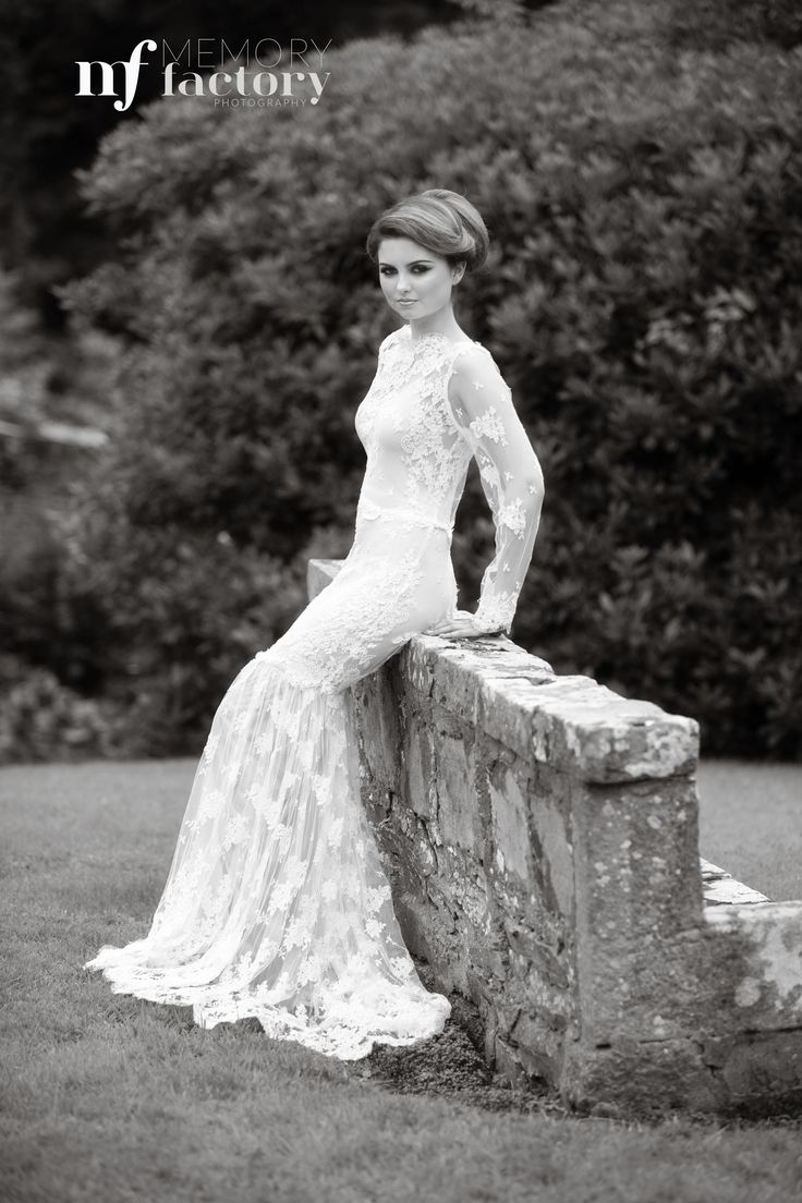 """""""Amiee"""" made from Ivory guipure lace with a skin coloured under slip, boat neckline, long sleeves and tulle guipure lace train. The train can be removed to reveal a dramatic fishtail skirt.  http://www.jendoherty.com/ #couture #bridal #wedding"""