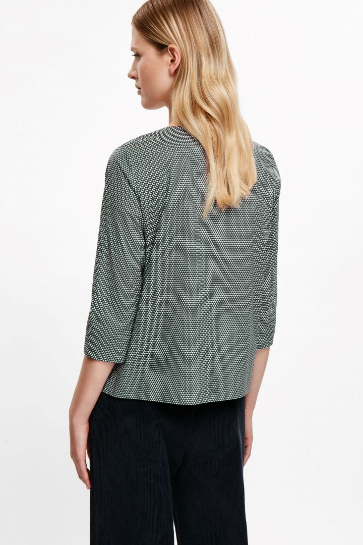 COS image 3 of Draped-neck printed shirt in Jade