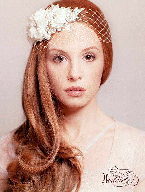 Birdcage bridal rhinestone hair accessory flower and by TheWeddie, €130.00
