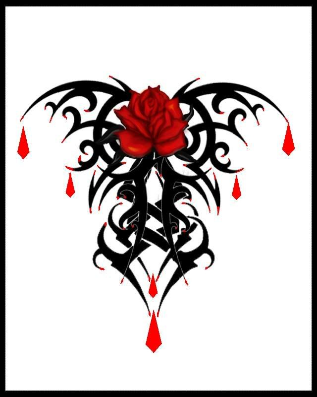 goth tattoo designs | Gothic Tattoo Designs tribal design rose diamond tattoo flash art ~A.R.
