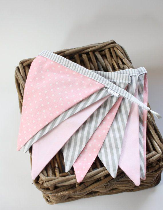 Flag Bunting Banner,  Pink Grey Bunting, Nursery Banner Decor,Garland, Stripes Polka Dots Bunting Banner, Girl Bunting Baner