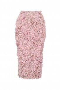 Lavender Rose Applique Work Pencil Fitted Skirt