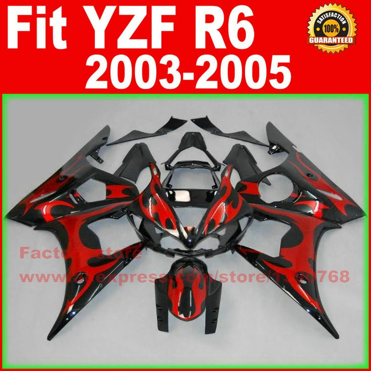 HOT motorcycle fairings kit for YAMAHA R6 2003 2004 2005 YZF R6 03 04 05  red flame black fairing kits body repair part #Affiliate