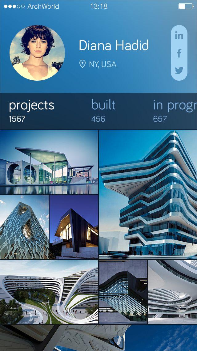 Profile page - architecture app #Mobile UI design