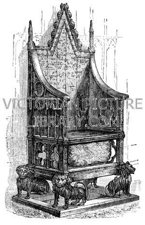 Coronation Chair. Victorian illustration of the Coronation Chair, which dates from the 13th century and stands in Westminster Abbey. Kings and queens of the United Kingdom are crowned while sitting on this chair. Made  of oak carved in the Gothic style, it is supported by four carved lions; beneath the seat, visible through quatrefoil openings, is the Coronation Stone, or Stone of Scone. Download high quality jpeg for just £5. Perfect for framing, logos, letterheads, and greetings cards.