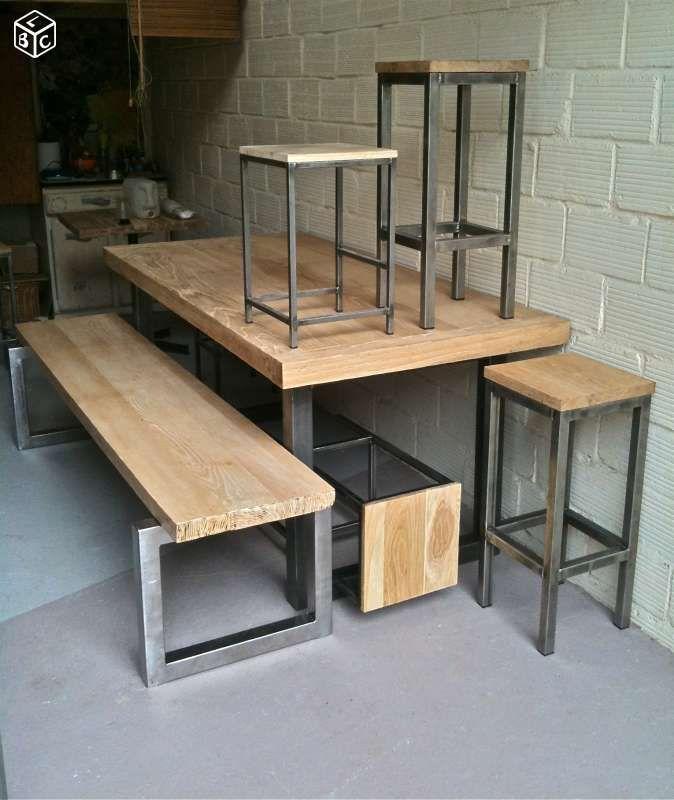 cheap tabouret banc bar industriel madinpariss with table haute la redoute. Black Bedroom Furniture Sets. Home Design Ideas