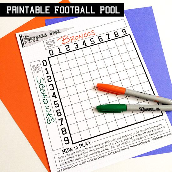 We are a football watching family. Seeing the Broncos make it to the Big Game is a pile of Big Excitement around here. We aren't a gambling family… but a little fun for the game is always a must. So, today I am sharing a football pool printable you can use at your own football …