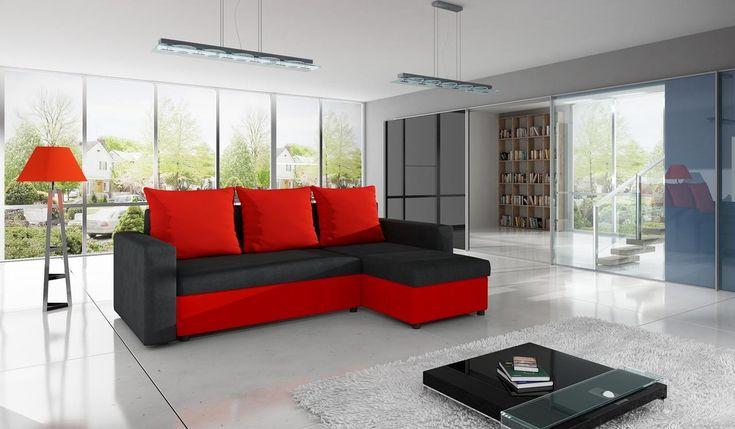 Fashionable red colour - in the living room will look beautiful! Modny czerwony kolor - w salonie będzie wyglądać pięknie! #red #cornersofa #narożnik #livingroom #black #salon