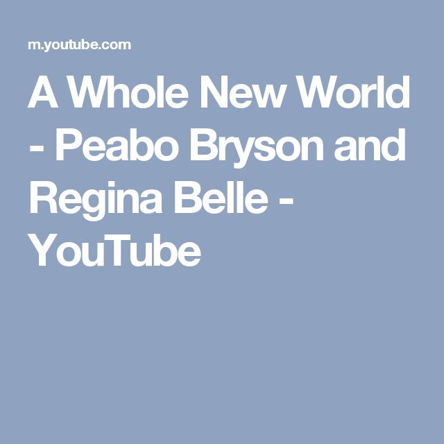 A Whole New World - Peabo Bryson and Regina Belle - YouTube