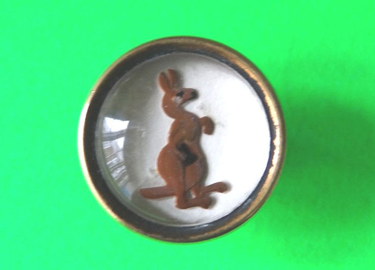 VINTAGE GUINNESS ADVERT BUTTON,INTAGLIO -LANGAROO WITH BIOTTLE IN IT'S POUCH