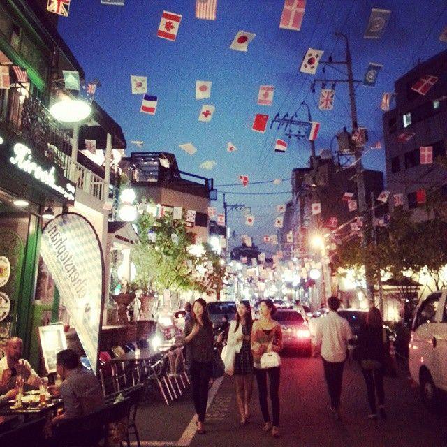 Streets of Itaewon #streetlife #nightlife #Itaewon #flags