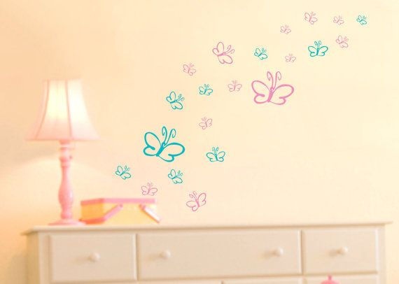 Butterflies Wall Decals Baby Girl Nursery Vinyl Wall Stickers on Etsy, $10.00