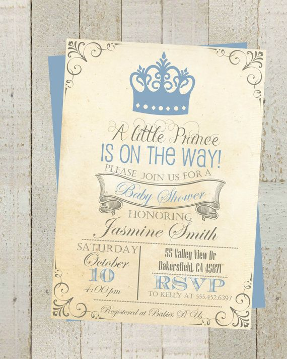 Vintage Prince Baby Shower Invite by themilkandcreamco on Etsy Vintage Prince Baby Shower Invite, Invitation with Blue Crown, Simple Casual, Digital File,