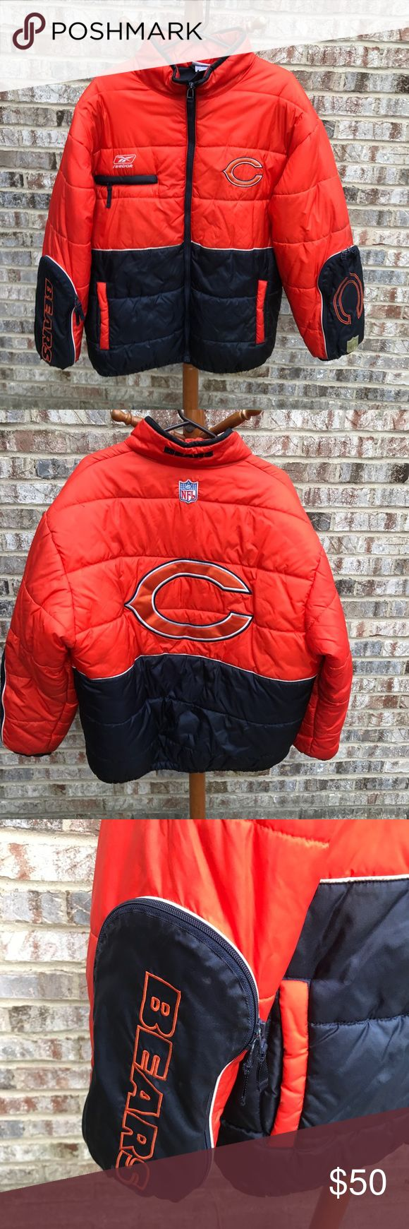 Chicago bears winter coat mens football Men's winter coat. Beautiful Chicago bears winter coat! Great to wear to games! Fully lined on inside in a blue color. Pockets on arm cuffs and sides. Chicago bears logo on front and back. Lightly used. See pictures. 🏉 Reebok Jackets & Coats Puffers