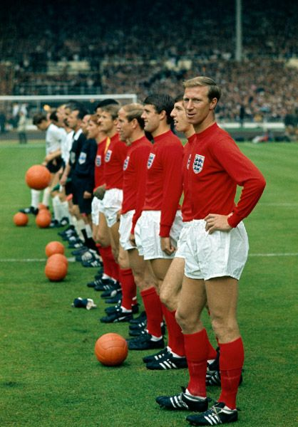 The England football team line up at the 1966 World Cup