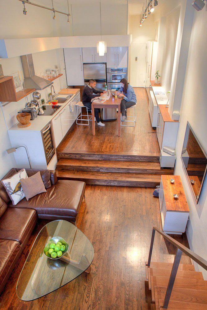 38 best step down living rooms images on pinterest for Sunken living room ideas