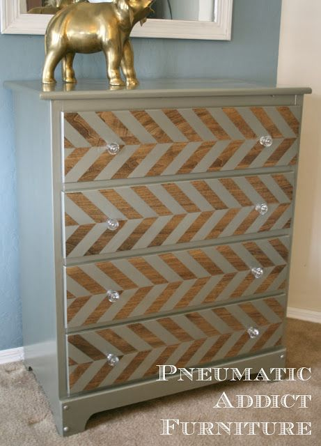 Pneumatic Addict Furniture: Pewter Herringbone Dresser Tutorial