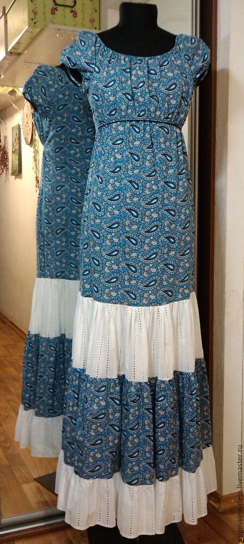 Купить Платье для кормящей мамы /пэйсли на синем/ - синий, пейсли, платье для кормления, для кормящих