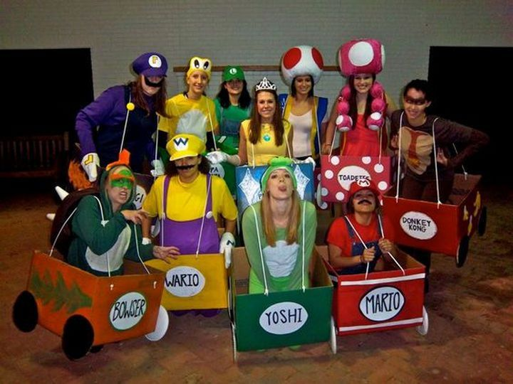 23 Super Mario and Luigi Costumes - A group costume featuring our favorite characters from Mario Kart.
