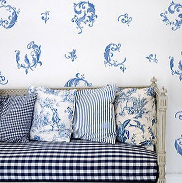 "Chinois Leaves Wall Stencils have three elegant leaf elements to stencil on your walls. Chinoiserie, a French term, signifying ""Chinese-esque"", was a popular European decorative style from the the sev"