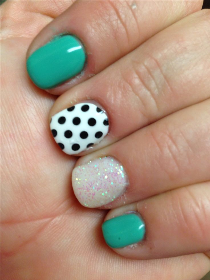 Turquoise gel nails with white glitter and polka dot ...