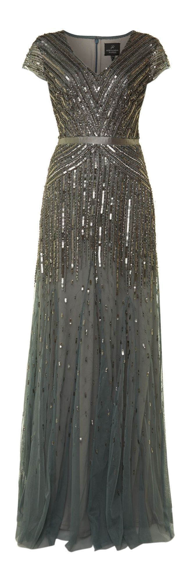 Adrianna Papell Gray Beaded Mesh Maxi Dress. What a gorgeous dress. Reminds me of early 1900's style but with a modern twist.