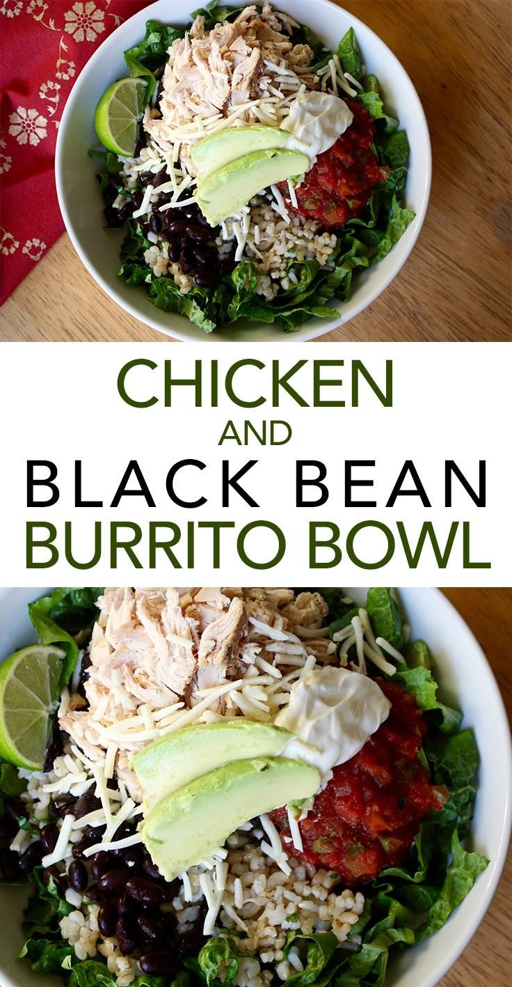 Chicken and Black Bean Burrito Bowl -- Make your own Mexican-inspired chicken burrito bowl with cilantro-lime rice and all the trimmings. // chicken recipes // healthy meals // easy lunches and dinners // high protein // meal prep ideas // beachbody | BeachbodyBlog.com