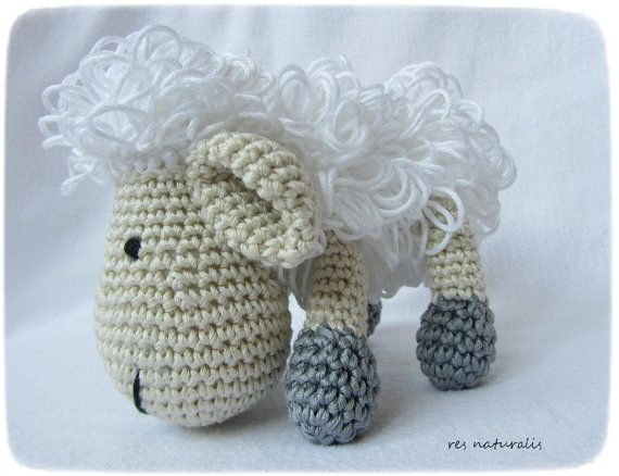 Crochet Baby Sheep Cotton Toy by ResNaturalis on Etsy  more on my ets shop: https://www.etsy.com/shop/ResNaturalis?ref=hdr_shop_menu