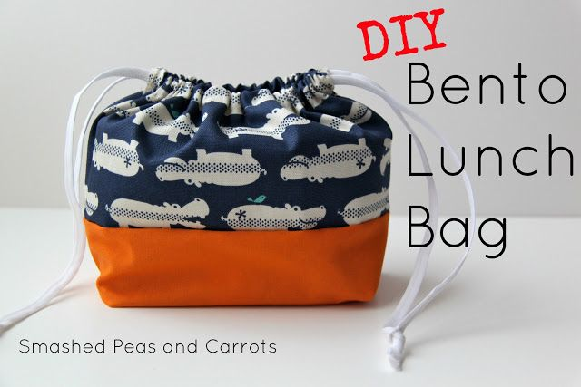 TUTORIAL: DIY Bento Lunch Bag from Smashed Peas and Carrots: this is so cute! Someday when I'm packing lunches for school, I'd love to have one of these for each child!