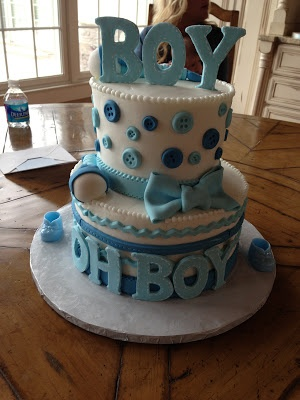 Baby shower cake, boy. Would love this on a light brown cake