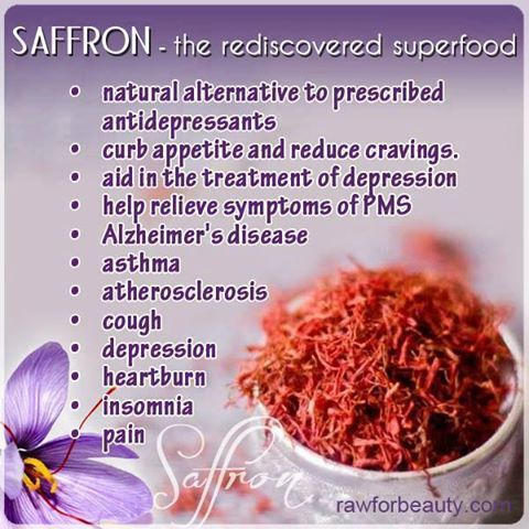 Saffron superfood herb: natural antidepressant, appetite suppressant, pms, alzheimer's, asthma, atherosclerosis, cough, heartburn, insomnia, pain