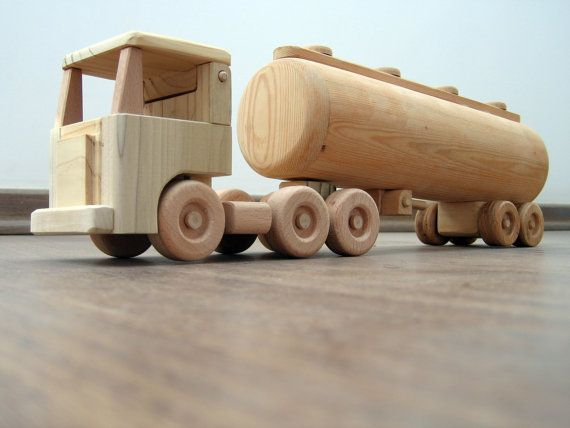 Tony the large tanker - a wooden semi-trailer toy truck, flat nose cabin with a peg man