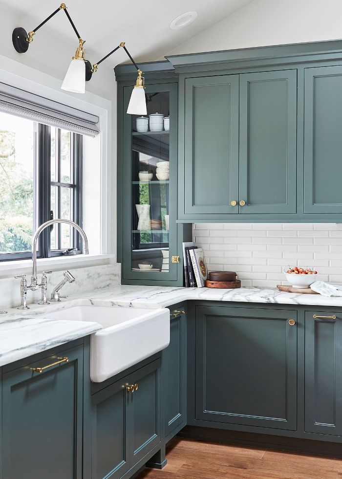 We Want These Green Kitchen Cabinets Stat Kitchen Color Trends Kitchen Interior Green Kitchen Cabinets