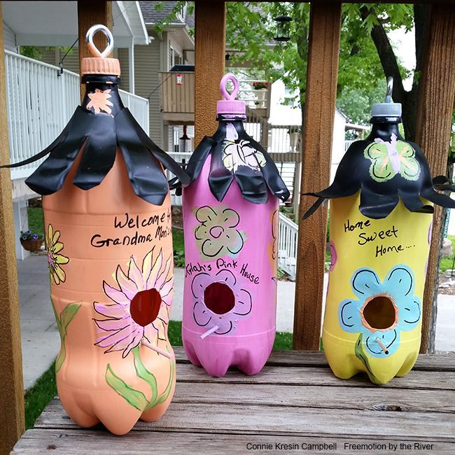 Pop Bottle Birdhouses (Freemotion by the River)