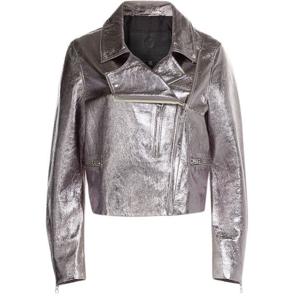 McQ Alexander McQueen Metallic Leather Biker Jacket ($935) ❤ liked on Polyvore featuring outerwear, jackets, silver, leather moto jacket, leather jacket, metallic jacket, shiny jacket and slim fit jacket