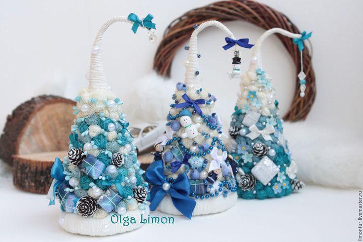 Купить Елочки голубые омбрешки! - синий, голубой, небесный, васильковый, белый, елка, елки, елочка