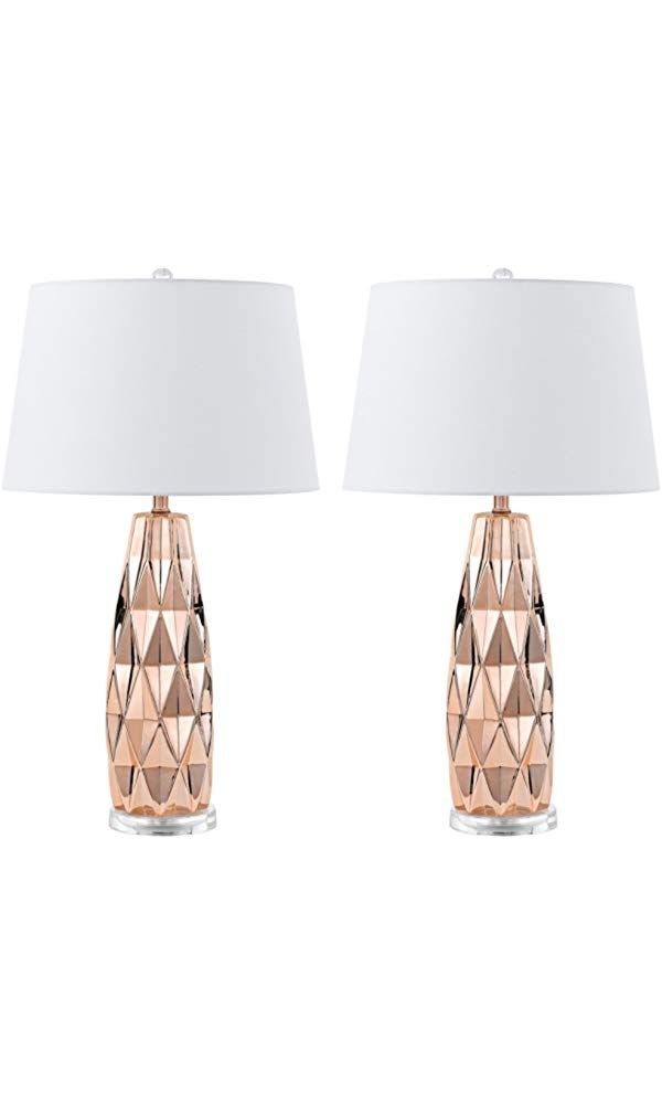 Marfa Rose Gold Ceramic Table Lamp Set Of 2 Ceramic Table Lamps Gold Ceramic Table Lamp Sets
